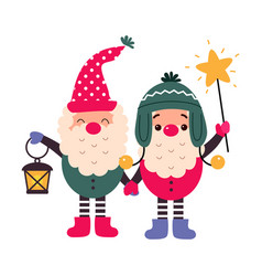 christmas gnomes cartoon characters merry xmas vector image