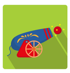 circus cannon icon flat style with long shadows vector image