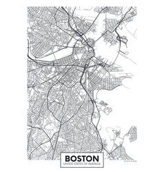 city map boston travel poster design vector image