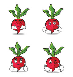 Collection radish character cartoon style set vector
