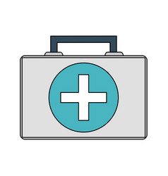 Color image cartoon first aid kit with symbol vector