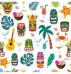 colorful tiki mask and hawaii vacation symbol vector image