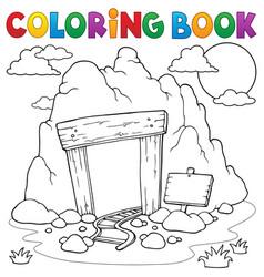 Coloring book mine entrance vector