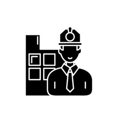 construction engineer black icon sign on vector image