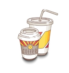 Cute hand-drawn fastfood vector