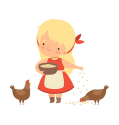 Cute little blonde girl feeding hens with corn vector