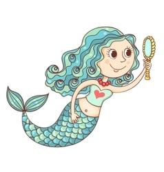 Cute mermaid with mirror vector image
