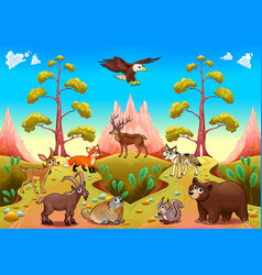 cute mountain animals in the nature vector image