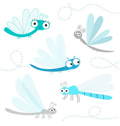 dragonfly big icon set cute cartoon kawaii funny vector image