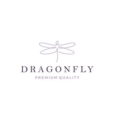 Dragonfly logo line outline monoline icon vector