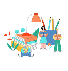 education and reading with vector image