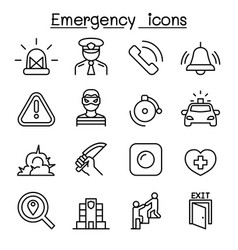 Emergency icon set in thin line style vector