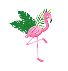 exotic pink flamingo with palm leaves flat cartoon vector image