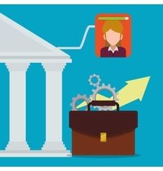 Female banking digital business arrow gear vector