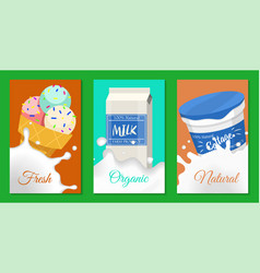 fresh dairy products concept set banners cards vector image