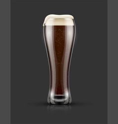 Full glass of dark black beer vector