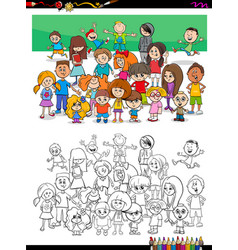 funny children characters group coloring book vector image
