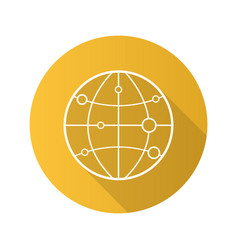 globe model with route points flat linear long vector image
