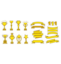 Gold awards cups medals set vector