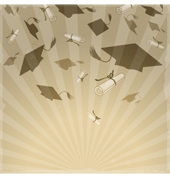 graduation caps on background rays vector image