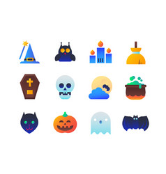 halloween - set of flat design style icons vector image