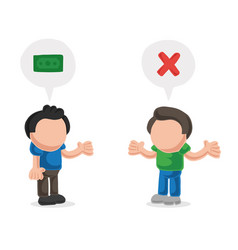 Hand-drawn cartoon of man asking another man for vector