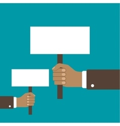 Hand holding a blank placard vector image