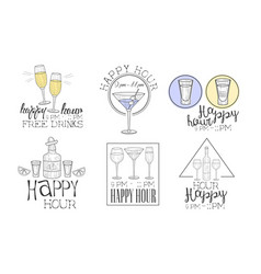 happy hour hand drawn retro labels set free vector image