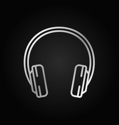 headphone silver outline icon headphones vector image