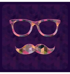 Hipster Icon with Geometric Grunge Background vector
