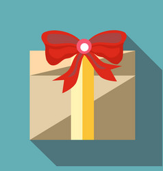 Holiday gift box icon flat style vector
