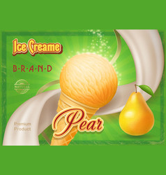 ice cream ads a cone of pear ice creame vintage vector image