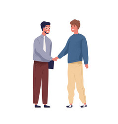 It specialist and businessman meet and shake hands vector