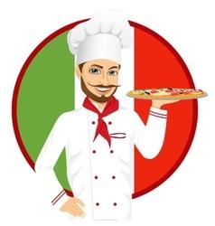 italian pizza chef with funny mustache vector image