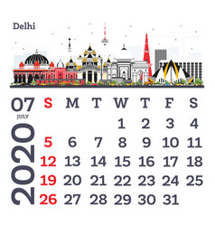 July 2020 calendar template with delhi city vector