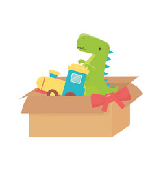 Kids toy filled box train and green dinosaur toys vector