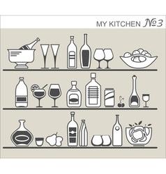 Kitchen utensils on shelves 3 vector image