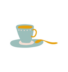 light blue ceramic cup and saucer cute ceramic vector image