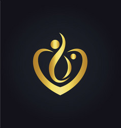 love joy heart couple gold logo vector image