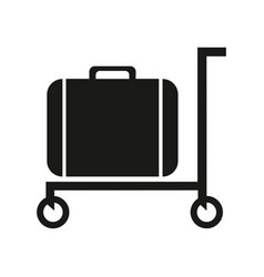 luggage trolley solid icon baggage on a tray vector image