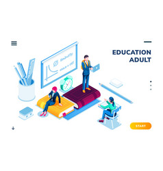 Man and woman at isometric classroom online study vector