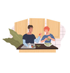 Man and woman couple cooking at home together vector