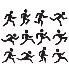 Man running figure black pictograms jogging vector