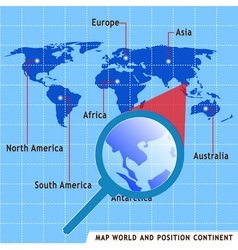 Map world and position continent vector