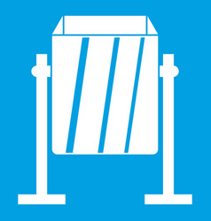 Metal dust bin icon white vector