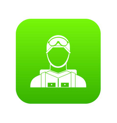 Military paratrooper icon digital green vector