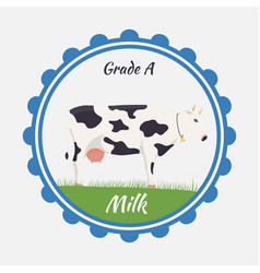 Milk and creamery label emblem vector