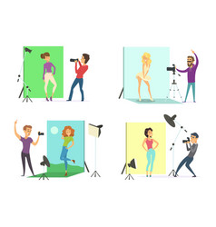 Models male and female posing for photos vector