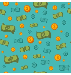 Money Seamless Pattern with Coins and Banknotes vector