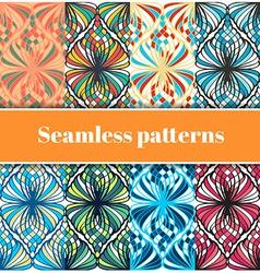 Mosaic Seamless Patterns Set vector image